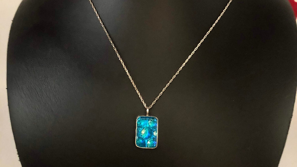 Sterling Silver Necklace with Dichroic Pendant