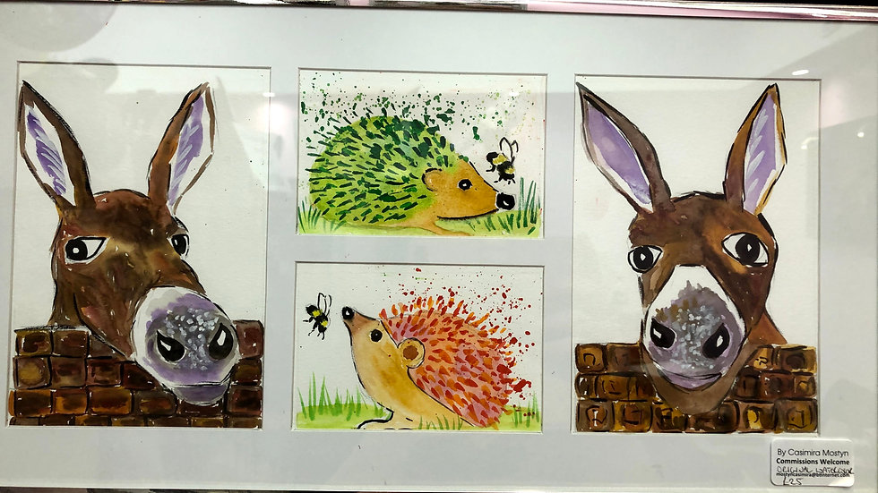 donkeys and hedgehog framed watercolour