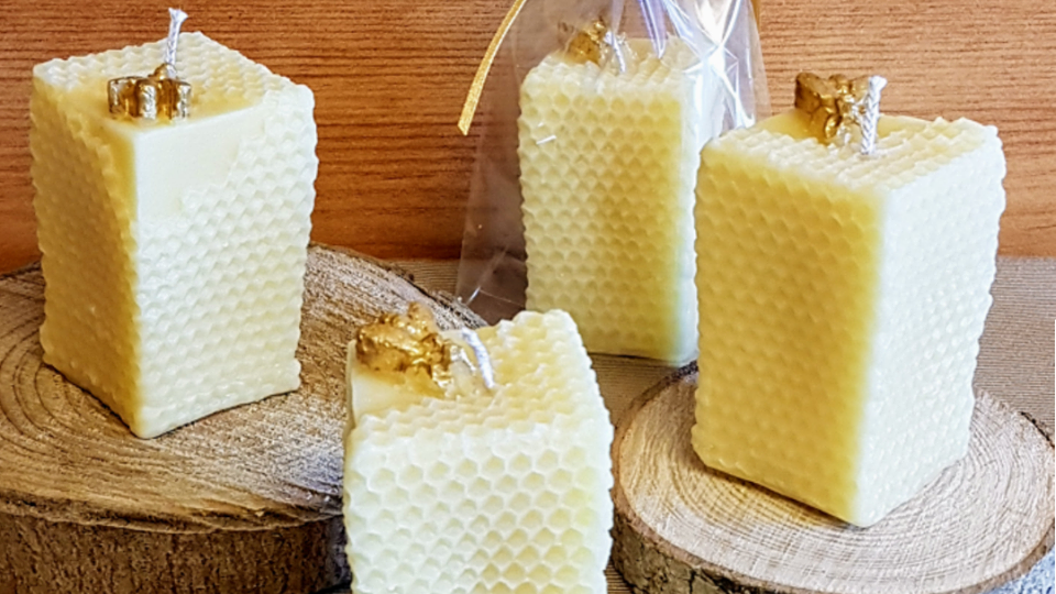 Square Beeswax Honeycomb Pillar Candle
