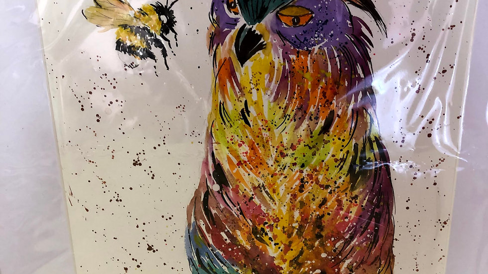 Owl Talking to Bee Painted
