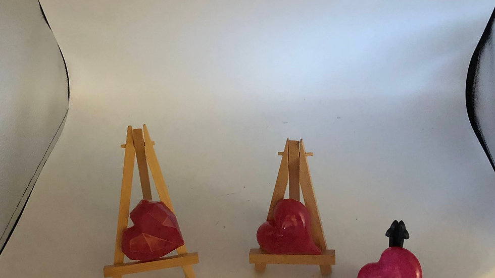 Trio of 3D Resin Hearts