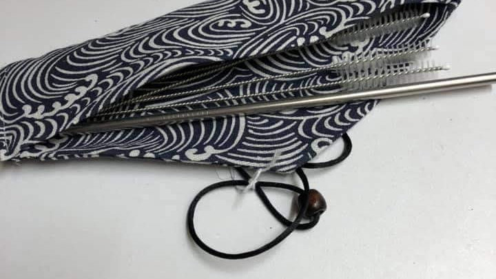 Metal Straws and Cleaners with Pouch