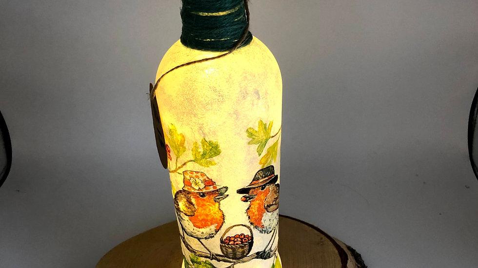 Decoupage Mr and Mrs Light up Bottle