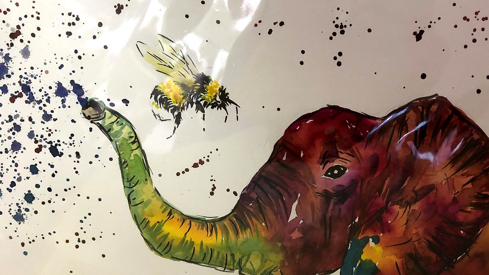 Colourful Elephant/Bumble Bee Painting