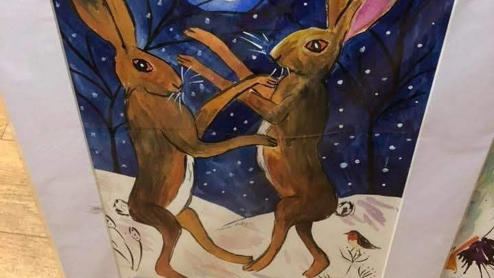 Hares Boxing Watercolour
