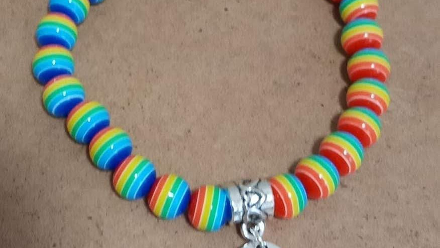 Rainbow Bracelet with Believe embellishment