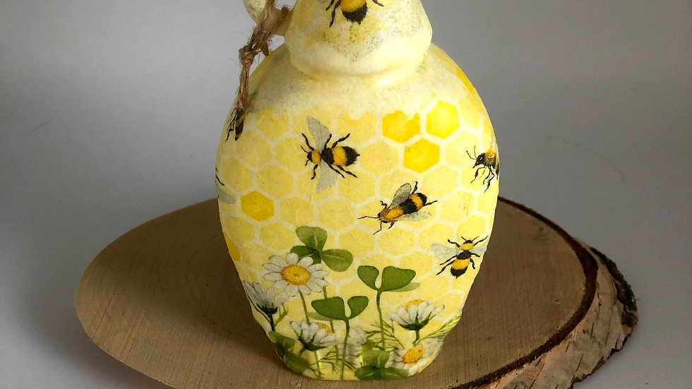 Decoupage Bee Vinegar Jar