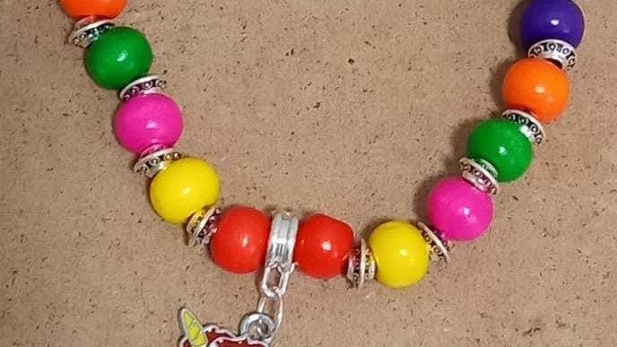 Rainbow Bracelet with Unicorn Embellishment