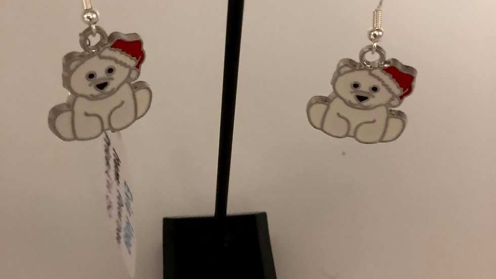 Christmas teddy earrings