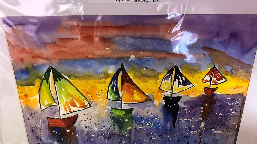 Sailing Boats at Sunset Watercolour