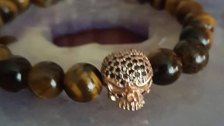 Tigers Eye Bracelet with rhinestone skull