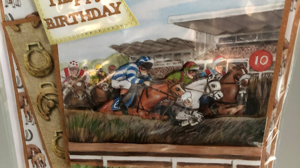 Happy Birthday Horse Racing Card