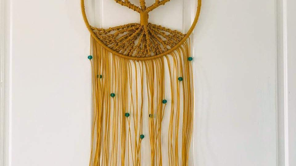 Macrame Gold Tree Of Life Wall Hanging