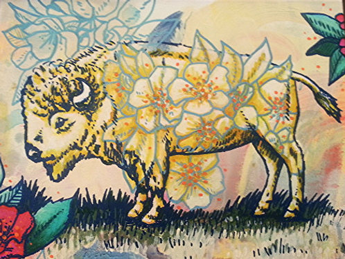 Floral Buffalo Original Painting