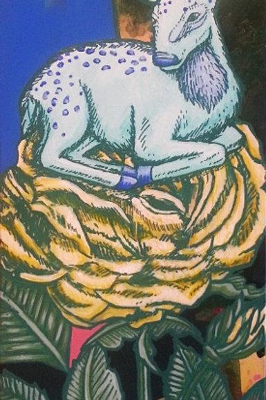 Fauna Yellow Rose Original Painting