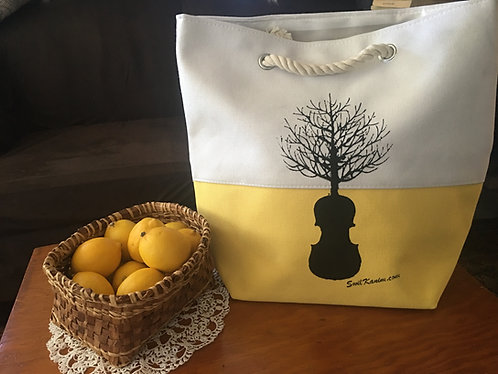 Swil Kanim Tree/Violin Tote Bag (LEMON YELLOW)