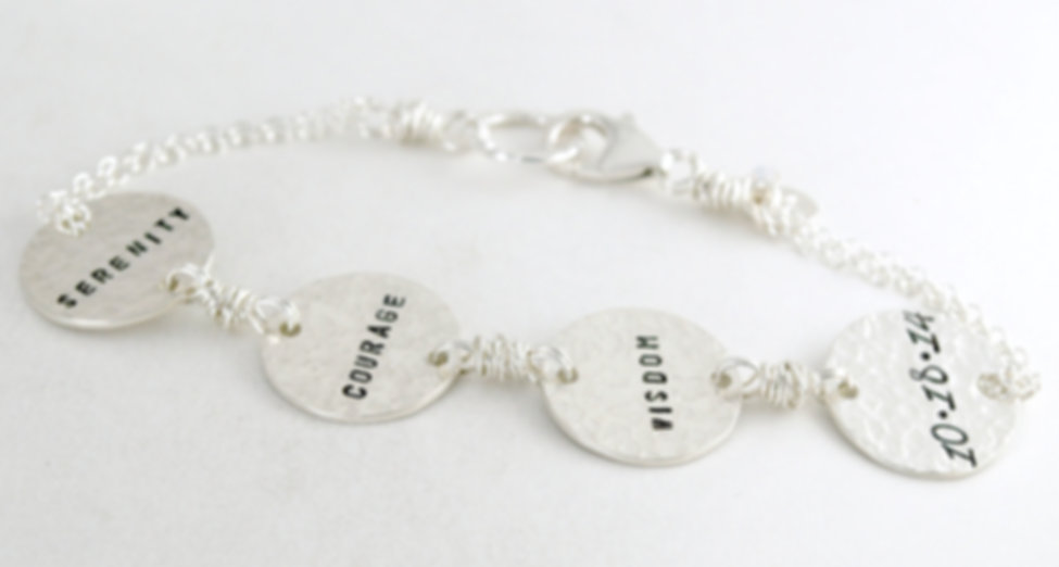 Personalized hand stamped bracelets by Studio 463