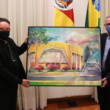 Dom Leomar e o prefeito Jorge Pozzobom