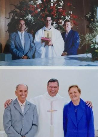 Com os pais na ordenação e no jubileu de prata