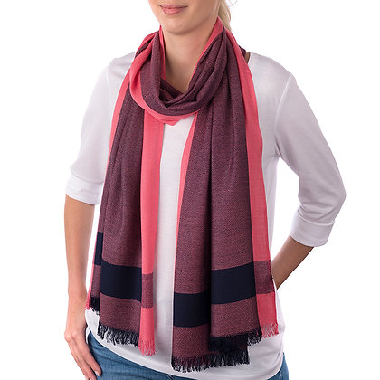 Salmon/Navy Brecon Scarf (Slightly Imperfect)