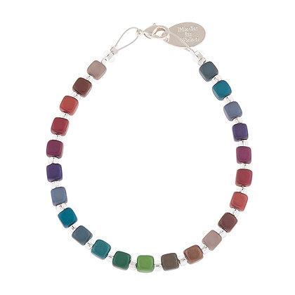 Rainbow Satin Cubes Bracelet