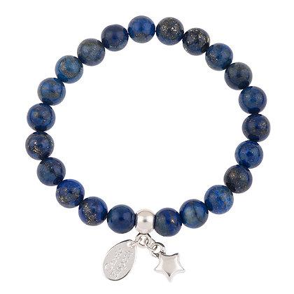 Lapis Lazuli Gemstone Bracelet (Star or Heart Charm)