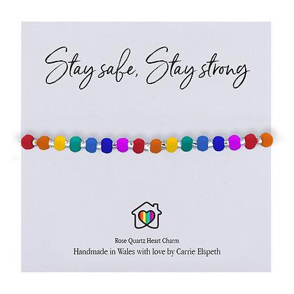 BESPOKE - Rainbow Stay Safe, Stay Strong Bracelet - Elaine Morris