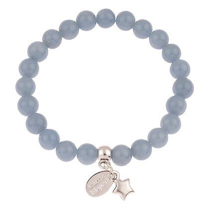 Angelite Gemstone Bracelet (Star or Heart Charm)