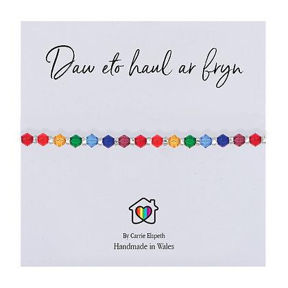 Daw eto haul ar Fryn (The sun will rise again) Glass Rainbow Bracelet