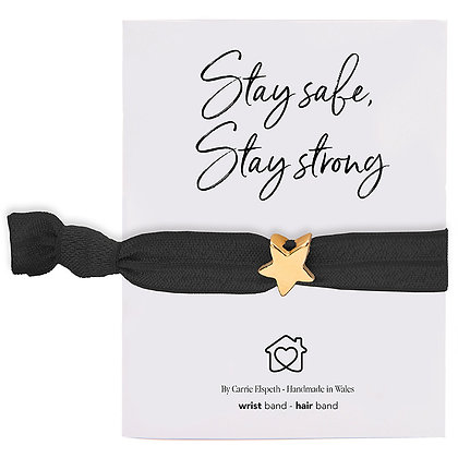 Stay Safe, Stay Strong Gold Star Charm Black Colourband