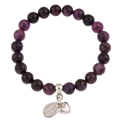 Lepidolite Gemstone Bracelet (Star or Heart Charm)