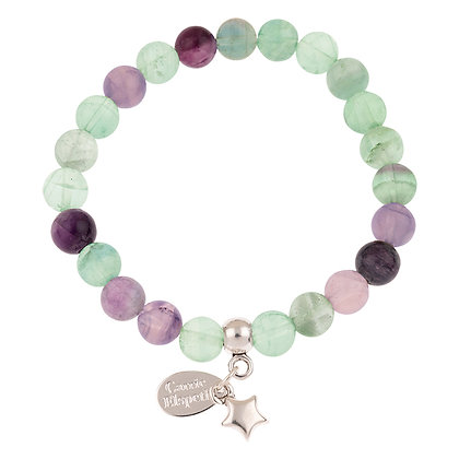 Fluorite Gemstone Bracelet (Star or Heart Charm)