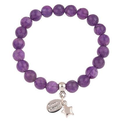 Amethyst Gemstone Bracelet (Star or Heart Charm)