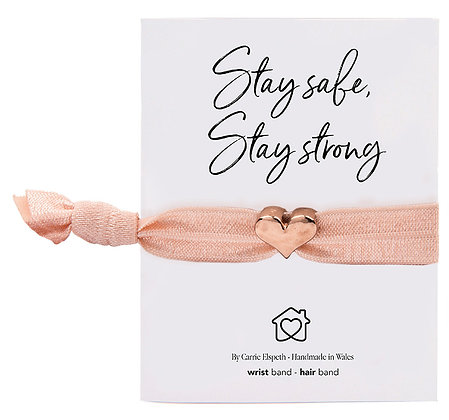 Stay Safe, Stay Strong Rose Gold Heart Charm Blush Colourband