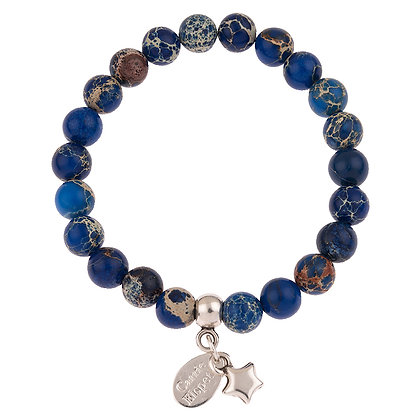 Impression Jasper Gemstone Bracelet (Star or Heart Charm)