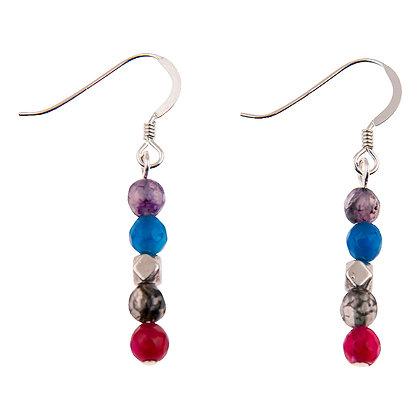 Rainbow Medley Agate Earrings