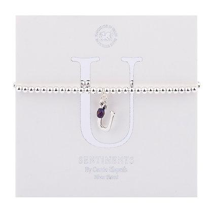Letter 'U' Sentiment Bracelet