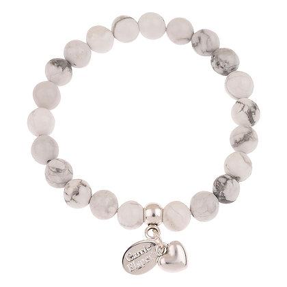 Howlite Heart Gemstone Bracelet (Star or Heart Charm)