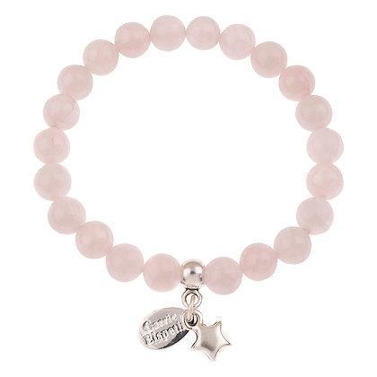 Rose Quartz Gemstone Bracelet (Star or Heart Charm)