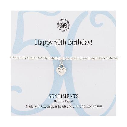 Happy 50th Birthday! Sentiment Bracelet