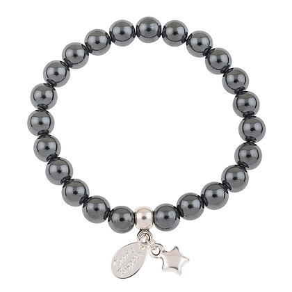 Haematite Gemstone Bracelet (Star or Heart Charm)