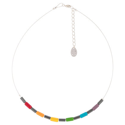 Rainbow Hematite Tubes Links Necklace
