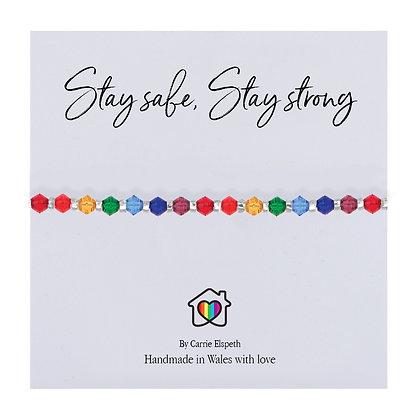 Stay Safe, Stay Strong Glass Rainbow Bracelet