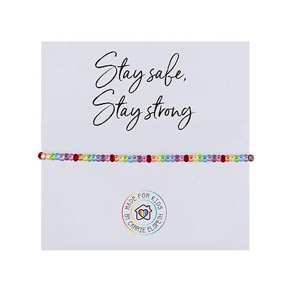 Stay Safe, Stay Strong Sparkle Rainbow Bracelet (For Kids)