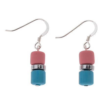 Pink/Blue Earthtones Earrings