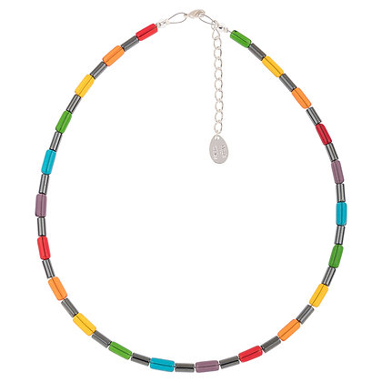 Rainbow Hematite Tubes Full Necklace