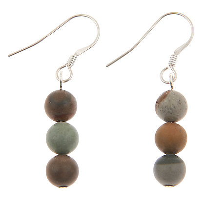 Beach Pebble Agate Earrings