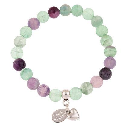 Fluorite Gemstone Bracelet (Star or Heart Charm)