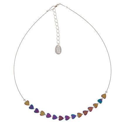 Rainbow Haematite Hearts Necklace
