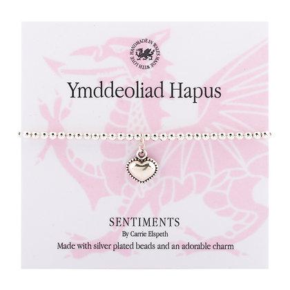 Happy Retirement - Ymddeoliad Hapus Sentiment Bracelet